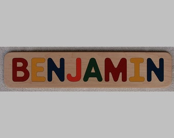 Name Puzzle - Raised Letters - Wood - Personalized - First Birthday Gift Toy - Made in USA  -  Kids Puzzle - Toddlers Puzzle