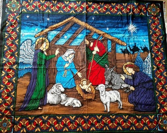 NATIVITY Christmas in July Wall Hanging Fabric Panel or Quick Quilt