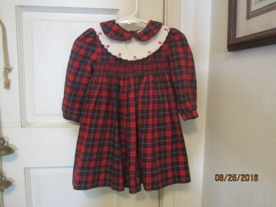 78aa1fc9a9a7 Sale LULI & ME Vintage Red PLAID Baby Girl Toddler smocked   Etsy