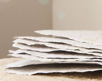 1 READY TO SHIP White Sage Handmade Paper-8 Sheets