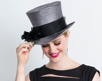 99fbf49df6566 Handblocked Parasisal Straw Top Hat   Kentucky Derby Hat in Charcoal Grey  with Black Grosgrain Band
