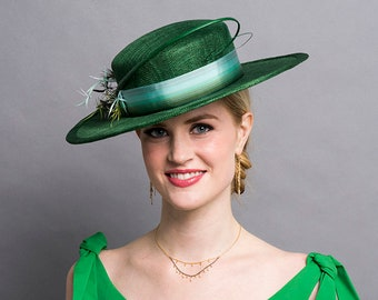 3ab39ed819c Dark Green Boater Hat with Ombre Ribbon   Feather Trims. 3
