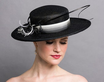 28b43ac7585 Black Boater Hat with Ombre Ribbon   Feather Trims. 3