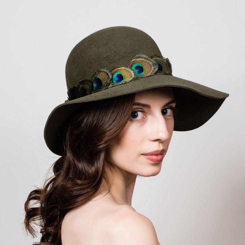bb40aed5f62 Floppy Brim Cloche Hat. Wide Brim Fur Felt Hat. Olive Green