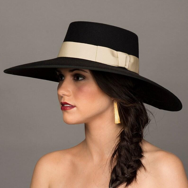 ca66786d43e Gaucho Hat. 5 Wide Brim Black Hat. Bolero Hat. Spanish