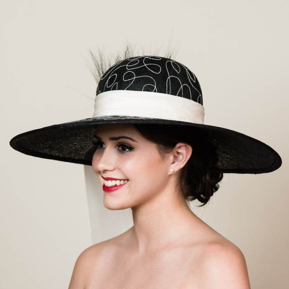 SALE Wide Brim Kentucky Derby Hat. White Embroidery on Black  ee155b9d637