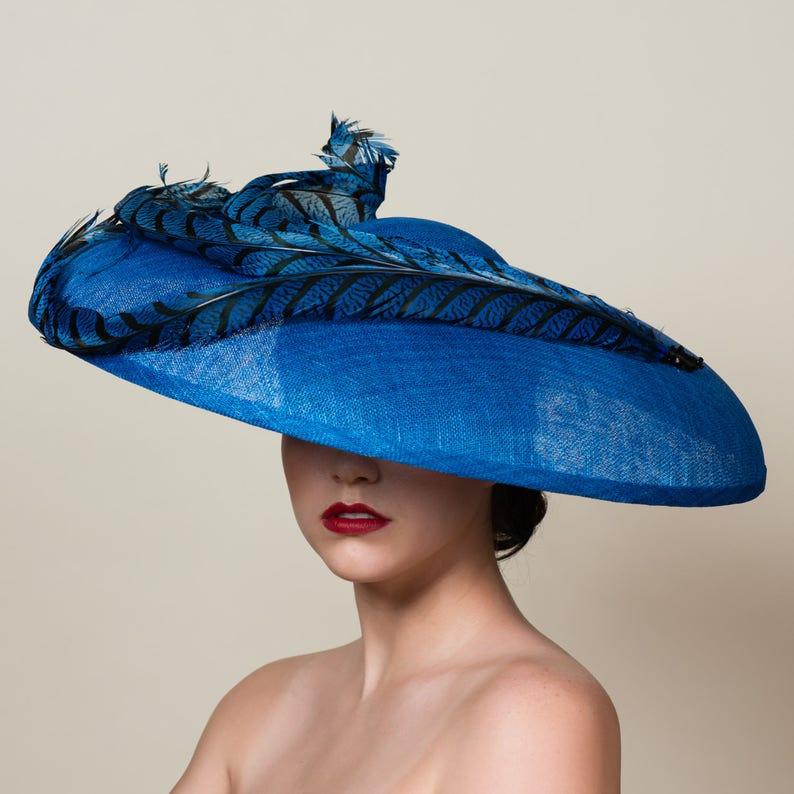 8978fb36034 Wide Brim Straw Hat. Kentucky Derby. Royal Ascot. Bright Blue