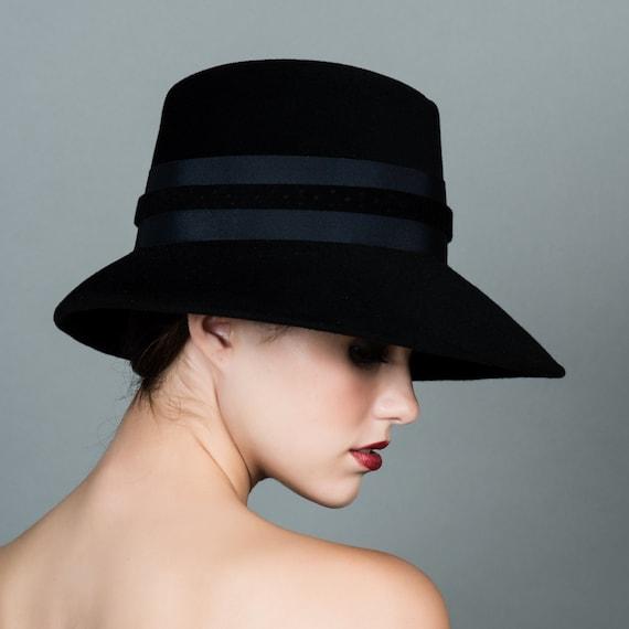 7ea81795f0d Womens Fedora Hat. Homburg Crown. Wide Brim. Black Velour Fur