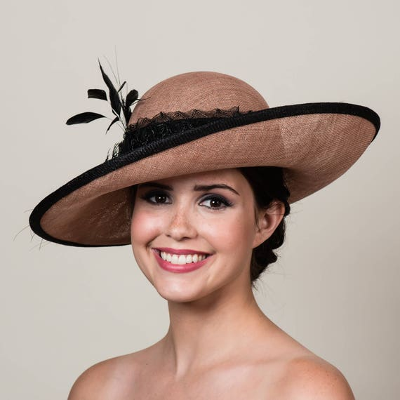 Kentucky Derby Hat. Latte Tan Sinamay with Black Feather  a8679106c11