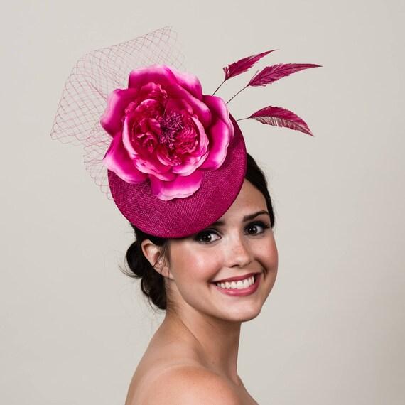d1517255961 Pink Sinamay 3D Percher Hat. Magenta Fuchsia. Derby. Ascot.