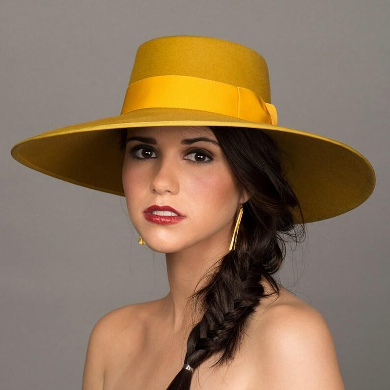 Cappello giallo senape. Cappello di Bolero. Tesa larga 5