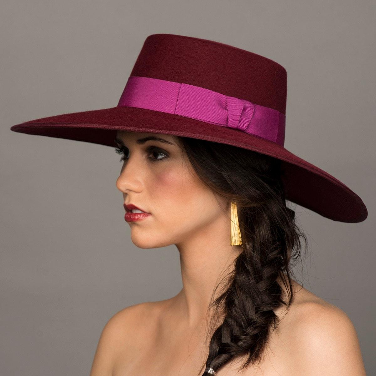 8827ddda2d1 Bolero Hat. Felt Gaucho Hat. Burgundy Fur Felt. Wide Brim Felt