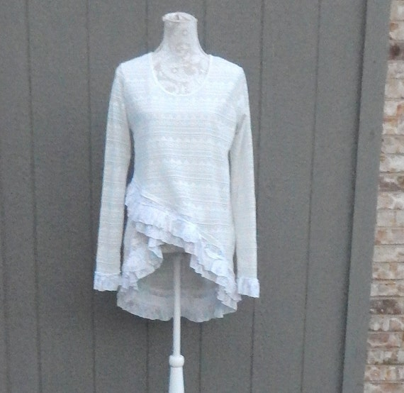 1f576910dda5a Altered Women s White Crocheted Lace Blouse with Rows of