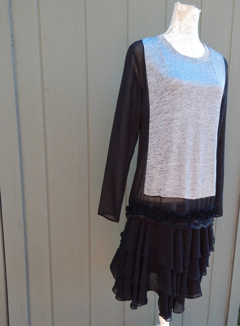 Small Wide Sheer Ruffled Skirt,Altered Couture BoHo Tunic Shabby Chic Top,Romantic Long Tunic Altered Women/'s Black and Gray Sheer Tunic