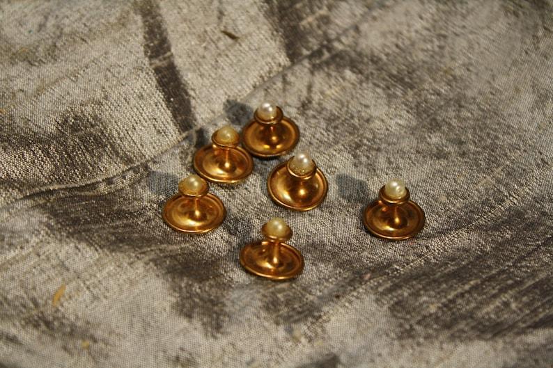 Vintage 1960\u2019s Faux Perl Head Tuxedo Buttons 6cnt