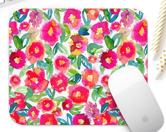 Floral Mouse pad for her - watercolor floral mouse pad for her, watercolor mousepad, cute desk accessory for her, watercolor floral mousepad