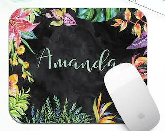 Tropical Mouse Pad, Custom Monogram, name or quote, mousepad for her, tropical desk accessories, floral mouse pad, tropical print