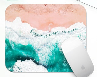 Beach waves mouse pad, ocean waves mouse pad, ocean beach mouse pad, crushing waves mousepad, modern office decor, beach lover desk decor