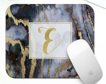 Monogram mouse pad for her, coworker gift, boss gift, marble mouse pad, gold desk accessories, gold office decor, gold desk accessories
