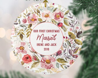 personalized newlywed ornament our first christmas married ornament newlywed christmas ornament custom christmas gift for newlyweds