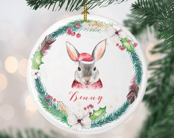 custom bunny christmas ornament personalized bunny ornament pet bunny gift bunny rabbit lover pet bunny ornament bunny owner gift