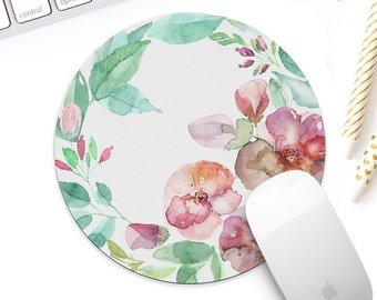 Floral mouse pad for her, Watercolor floral mousepad, Spring flowers mouse mat, Spring decor, Bridesmaid gift, new job gift for her