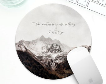 Mountains mouse pad, Rockies mouse pad, mountain quotes mouse pad, mousepad for him, modern office decor, gift for mountain lover desk