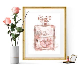 Chanel No 5 Print Fashion Illustration, Rose Gold Foil Print