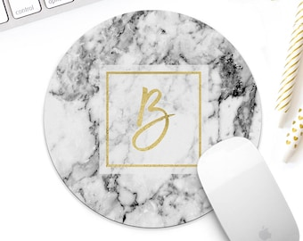 Marble Gold Monogram mouse pad for her, white marble mouse pad, gold desk accessories, gold decor, gold accessories, gold stationery & decor