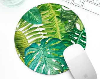 Tropical Leaves Mousepad, watercolor tropical mouse pad for her, watercolor mousepad, cute desk accessory for her, monstera leaves mousepad