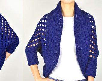 Striped Eyelet Chunky Shrug - PDF Crochet Pattern - Instant Download