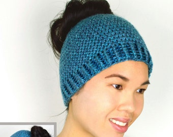Bun and Ponytail Hat - 5 Sizes - PDF Crochet Pattern - Instant Download