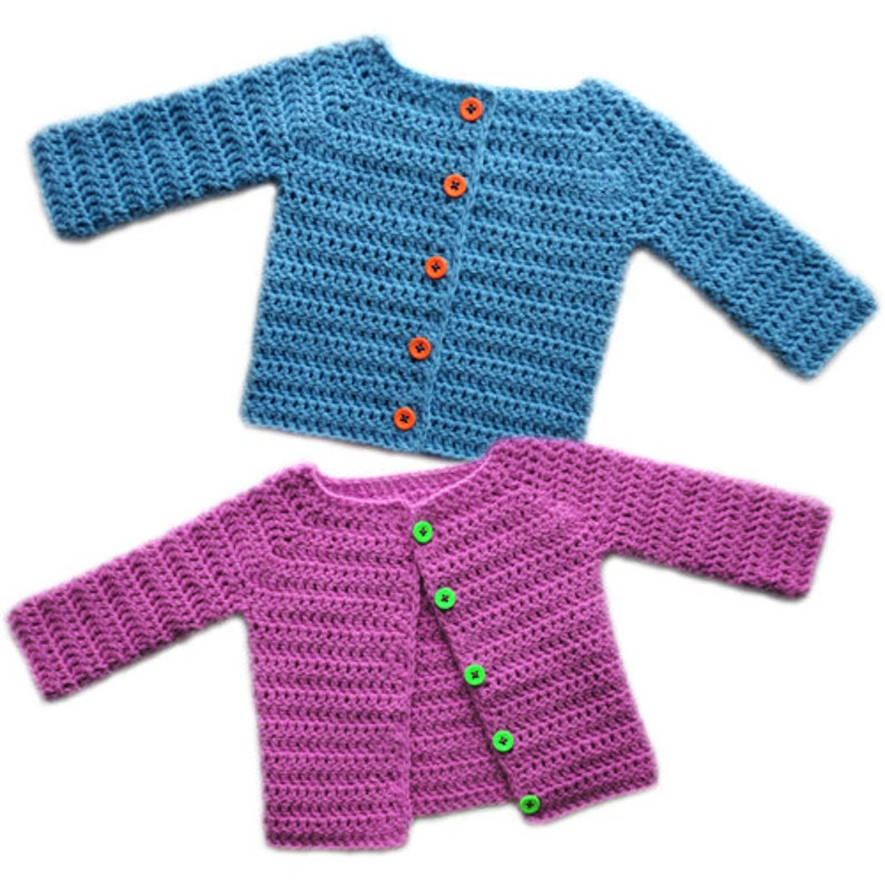 1c7105495f5a Classic Baby Cardigan Sweater 5 Sizes PDF Crochet Pattern