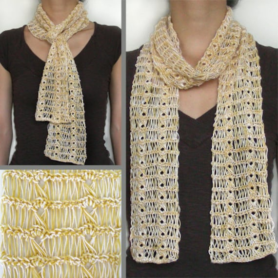 Broomstick Lace Summer Scarf Pdf Crochet Pattern Instant Etsy