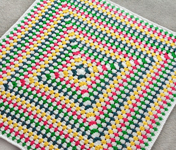Solid Granny Square Blanket Pdf Crochet Pattern Instant Etsy
