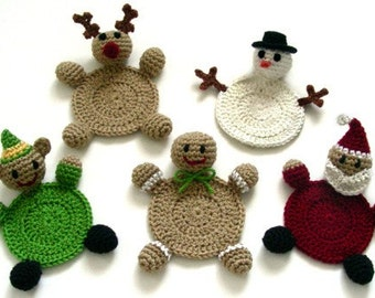 Christmas Character Coasters - PDF Crochet Pattern - Instant Download