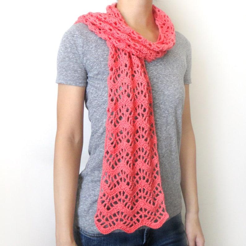 Lacy Chevron Scarf Pdf Crochet Pattern Instant Download Etsy