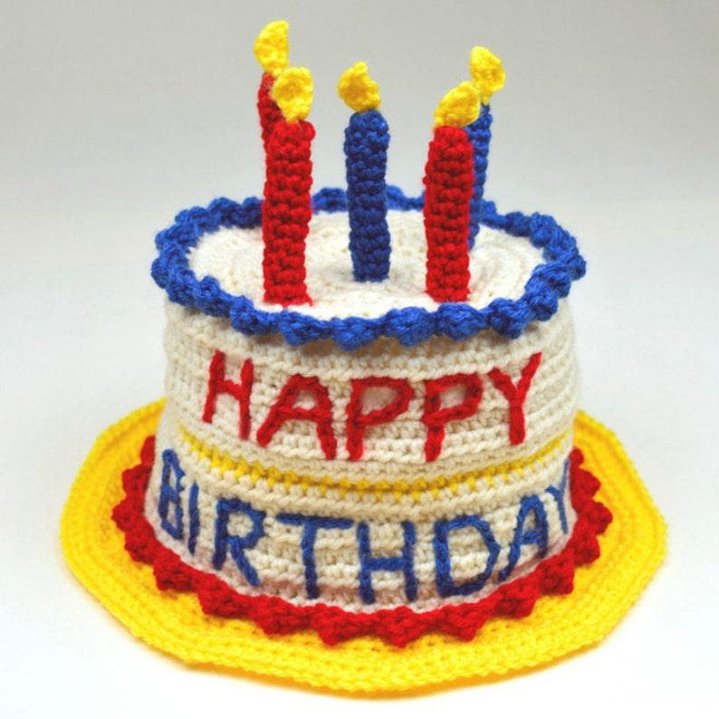 Birthday Cake Hat 5 Sizes PDF Crochet Pattern Instant