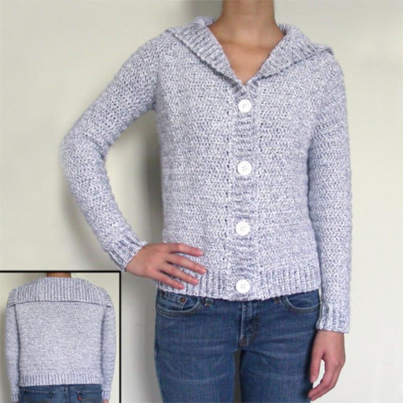 5f2d470da Classic Cardigan Sweater PDF Crochet Pattern Instant