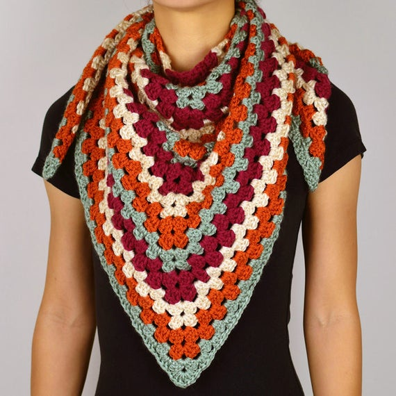 Granny Triangle Scarf Pdf Crochet Pattern Instant Download