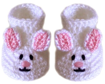 Baby Bunny Booties - 3 Sizes - PDF Crochet Pattern - Instant Download