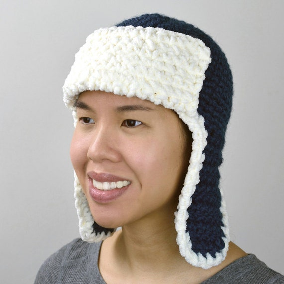 Aviator Trapper Hat 5 Sizes Pdf Crochet Pattern Instant