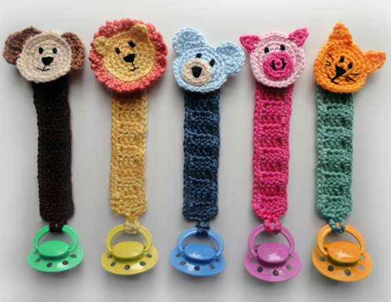 Pacifier Holder With Animals Pdf Crochet Pattern Instant Etsy