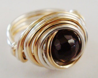 Garnet Ring, Garnet Sterling Silver and 14K Gold Filled Ring,  Wire Wrapped Ring, Red Garnet Ring, Silver Ring, Gold Ring, Garnet Gemstone