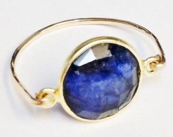 Sapphire Ring, Blue Sapphire Ring, 14K Gold Filled Ring, Sapphire Jewelry, September Birthstone, Dark Blue Sapphire, Birthstone Ring
