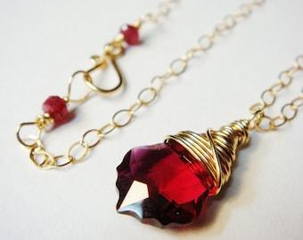 Ruby Necklace, Red Necklace, Ruby Swarovski Crystal Baroque, Ruby Red Necklace 14K Gold Fill Necklace, Ruby Red Necklace, Crystal Necklace