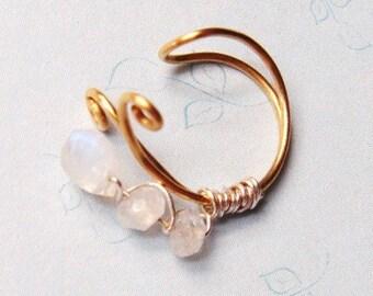Moonstone Ear Cuff   14K Gold Ear Cuff    Bridal Ear Cuff    14k Gold and Moonstones   Gold Filled Ear Wrap