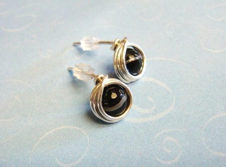 Sterling Silver Post Earrings Wire Wrap Post Black Onyx Jewelry Stud Earrings Black Post Earrings Black Onyx Earrings