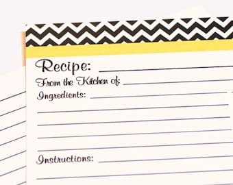 Recipe Cards Black and White Chevron Zigzag with your choice of color Trim 4x6 (3x5 by request)