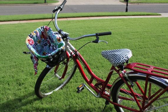 Gingham and Floral Bike Basket Liner